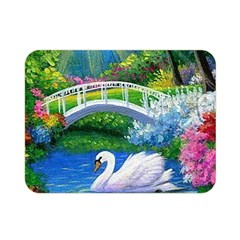 Swan Bird Spring Flowers Trees Lake Pond Landscape Original Aceo Painting Art Double Sided Flano Blanket (mini)  by BangZart