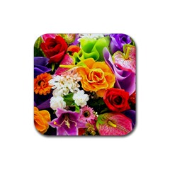 Colorful Flowers Rubber Coaster (square)