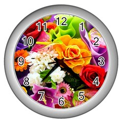 Colorful Flowers Wall Clocks (silver)