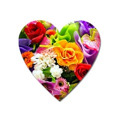 Colorful Flowers Heart Magnet by BangZart