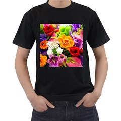 Colorful Flowers Men s T Shirt (black) (two Sided)