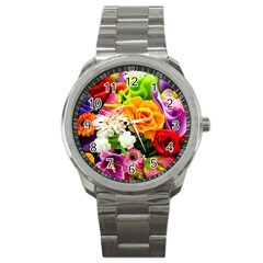 Colorful Flowers Sport Metal Watch by BangZart