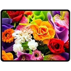 Colorful Flowers Fleece Blanket (large)  by BangZart