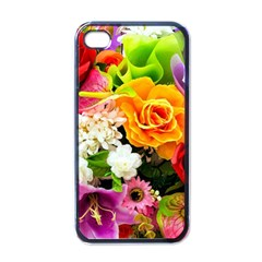Colorful Flowers Apple Iphone 4 Case (black)