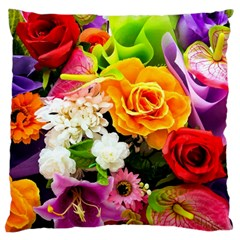 Colorful Flowers Large Cushion Case (two Sides)