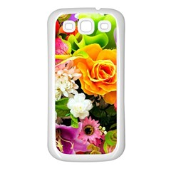 Colorful Flowers Samsung Galaxy S3 Back Case (white)