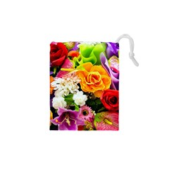 Colorful Flowers Drawstring Pouches (xs)