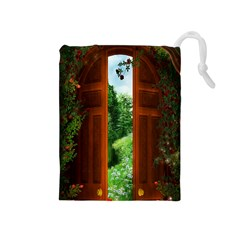 Beautiful World Entry Door Fantasy Drawstring Pouches (medium)