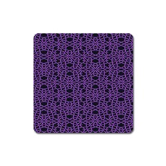 Triangle Knot Purple And Black Fabric Square Magnet