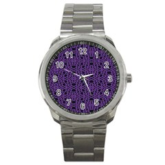 Triangle Knot Purple And Black Fabric Sport Metal Watch