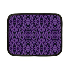 Triangle Knot Purple And Black Fabric Netbook Case (small)