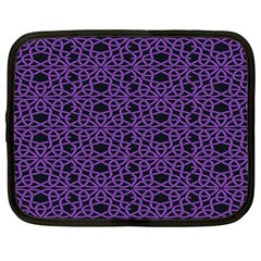 Triangle Knot Purple And Black Fabric Netbook Case (large)