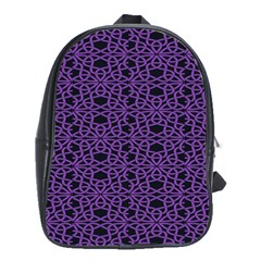Triangle Knot Purple And Black Fabric School Bags(large)