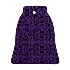 Triangle Knot Purple And Black Fabric Bell Ornament (two Sides)
