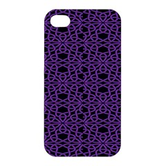 Triangle Knot Purple And Black Fabric Apple Iphone 4/4s Hardshell Case