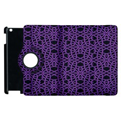 Triangle Knot Purple And Black Fabric Apple Ipad 2 Flip 360 Case by BangZart