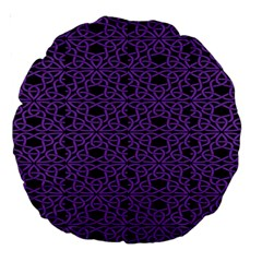 Triangle Knot Purple And Black Fabric Large 18  Premium Round Cushions