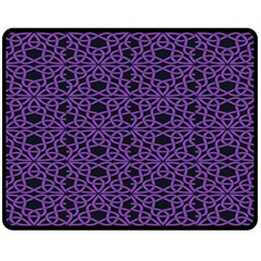 Triangle Knot Purple And Black Fabric Double Sided Fleece Blanket (medium)  by BangZart