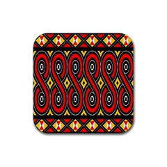 Toraja Traditional Art Pattern Rubber Square Coaster (4 Pack)  by BangZart