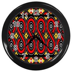 Toraja Traditional Art Pattern Wall Clocks (black)