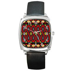 Toraja Traditional Art Pattern Square Metal Watch
