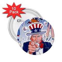 Independence Day United States Of America 2 25  Buttons (10 Pack)