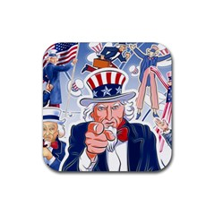 Independence Day United States Of America Rubber Square Coaster (4 Pack)