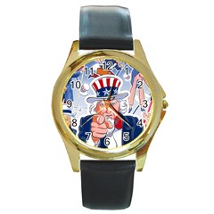 Independence Day United States Of America Round Gold Metal Watch