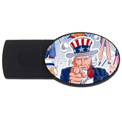 Independence Day United States Of America Usb Flash Drive Oval (2 Gb)
