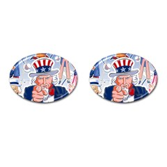 Independence Day United States Of America Cufflinks (oval) by BangZart