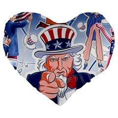Independence Day United States Of America Large 19  Premium Heart Shape Cushions by BangZart