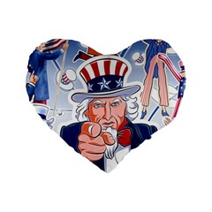 Independence Day United States Of America Standard 16  Premium Flano Heart Shape Cushions