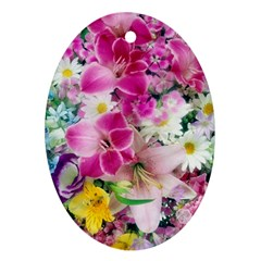 Colorful Flowers Patterns Ornament (oval) by BangZart