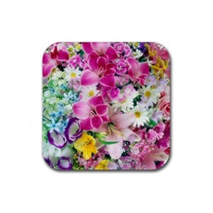 Colorful Flowers Patterns Rubber Square Coaster (4 Pack)  by BangZart