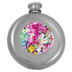 Colorful Flowers Patterns Round Hip Flask (5 Oz)