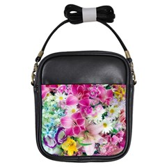 Colorful Flowers Patterns Girls Sling Bags