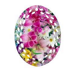 Colorful Flowers Patterns Oval Filigree Ornament (two Sides)