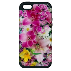 Colorful Flowers Patterns Apple Iphone 5 Hardshell Case (pc+silicone)