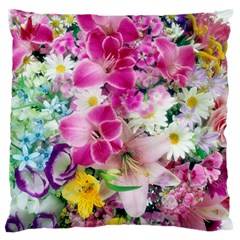 Colorful Flowers Patterns Large Flano Cushion Case (two Sides)