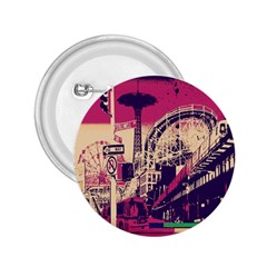 Pink City Retro Vintage Futurism Art 2 25  Buttons by BangZart