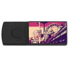 Pink City Retro Vintage Futurism Art Rectangular Usb Flash Drive