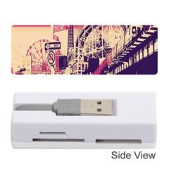 Pink City Retro Vintage Futurism Art Memory Card Reader (stick)