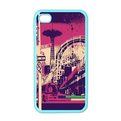 Pink City Retro Vintage Futurism Art Apple Iphone 4 Case (color) by BangZart
