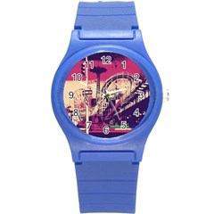 Pink City Retro Vintage Futurism Art Round Plastic Sport Watch (s)