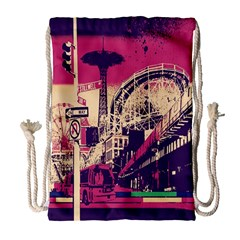 Pink City Retro Vintage Futurism Art Drawstring Bag (large) by BangZart