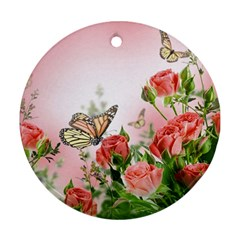 Flora Butterfly Roses Ornament (round)