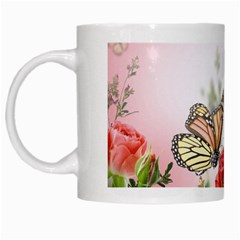 Flora Butterfly Roses White Mugs by BangZart