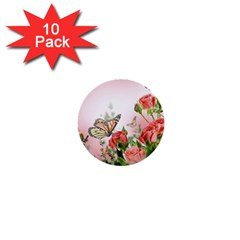 Flora Butterfly Roses 1  Mini Buttons (10 Pack)  by BangZart
