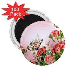 Flora Butterfly Roses 2 25  Magnets (100 Pack)
