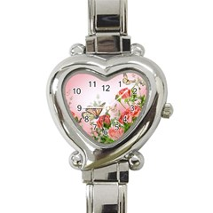 Flora Butterfly Roses Heart Italian Charm Watch
